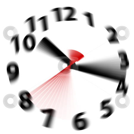 Time flies speed blur fast hands clock stock photo, Time flies by fast as hands blur spinning around a white clock face by Michael Brown