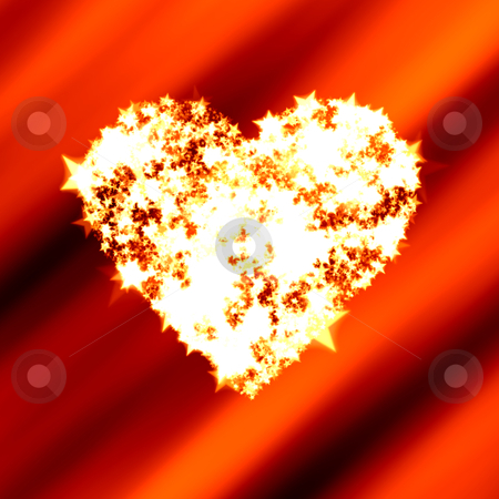 Bright heart of shining stars on red Valentine background stock photo, Heart shape copy space made of bright shining stars on a red Valentine background by Michael Brown