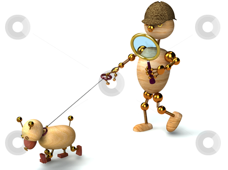 3d wood man as a detective stock photo, 3d wood man as a detective with dog by vetdoctor