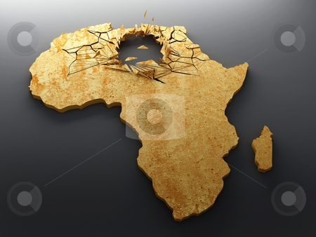 Crisis exploded in Africa stock photo, African map with explosion and crack to represent the state of crisis by Giordano Aita