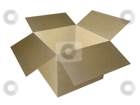 Open box stock photo, Cardboard Box with lid opened. Isolated on white background. by george_vin