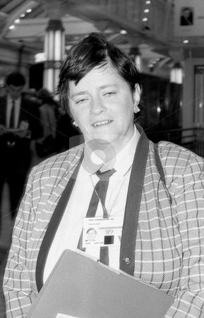 Ann Widdicombe stock photo, Ann Widdicombe, Conservative party Member of Parliament for Maidstone East, attends the party conference in Blackpool, England on October 10, 1989. by newsfocus1