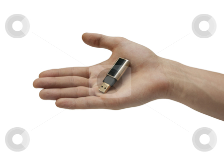 Hand with usb flash memory  stock photo, Hand with flash memory on white background by romankunitski