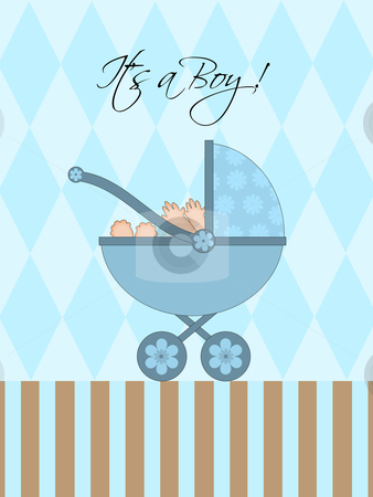 its a boy blue baby pram stock photo