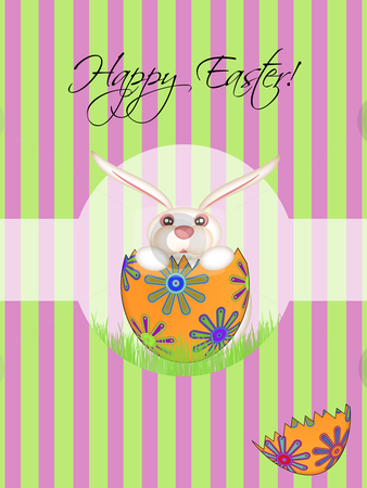 Happy Easter Bunny Hatching Egg stock photo, Happy Easter Bunny Hatching from Floral Egg Illustration by Thye Gn