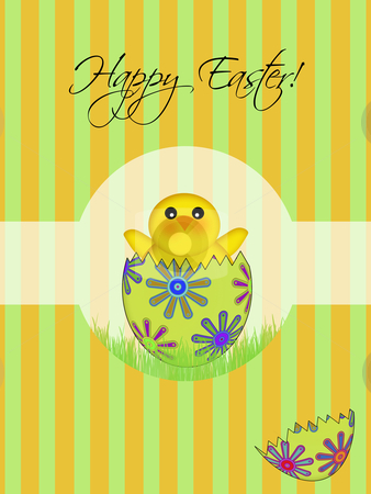 Happy Easter Chick Hatching Egg stock photo, Happy Easter Chick Hatching from Floral Egg Illustration by Thye Gn