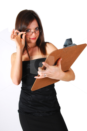 Lady holding clipboard stock photo, Lady in a black dress holding a brown clipboard by Mornay Van Vuuren