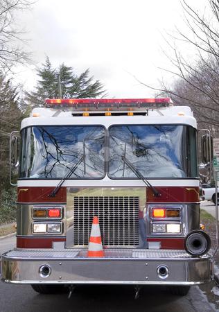 Firetruck stock photo, A Firetruck at the scene of an emergency by Robert Byron