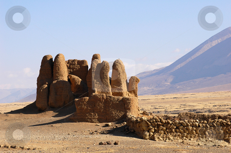 Ruins in Tibet stock photo, Landmark of ancient architectural ruins in Tibet by John Young