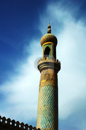 Mosque tower stock photo, Landmark of a mosque tower in Sinkiang China by John Young
