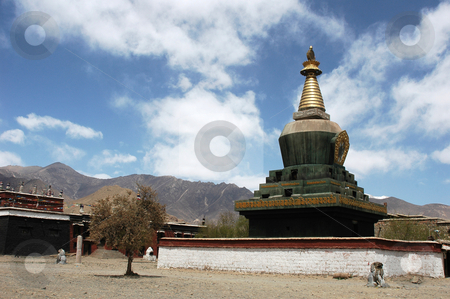 Lamasery in Tibet stock photo, Landmark of a typical historical lamasery in Tibet by John Young