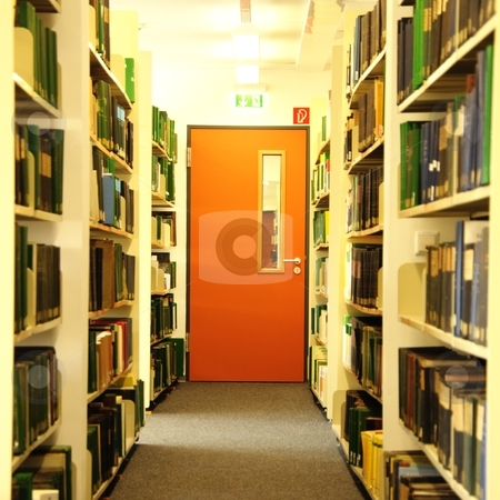 Bookshelf stock photo, bookshelf of book shelf in a university library showing study concept by Gunnar Pippel