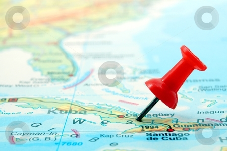Travel stock photo, copyspace push pin and map with little focus by Gunnar Pippel