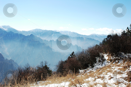 Landscape in the mountains stock photo, Landscape on the top of mountains in winter by John Young