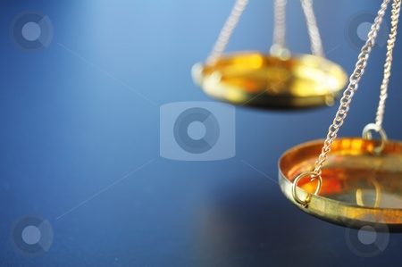 Scale stock photo, sclaes with copyspace showing law justice or court concept by Gunnar Pippel