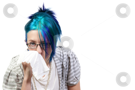 Woman Blowing Her Nose stock photo, A beautiful woman with a cold, hay fever or allergies blowing her nose by Robert Byron