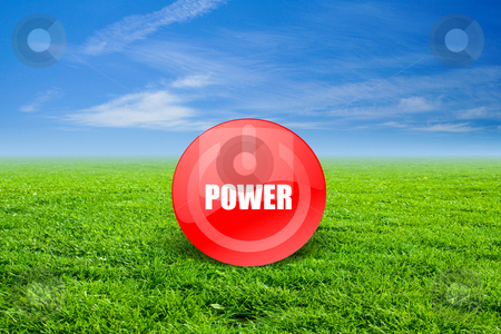 Power stock photo, Power sign in a green enviroment. by Bagiuiani Kostas