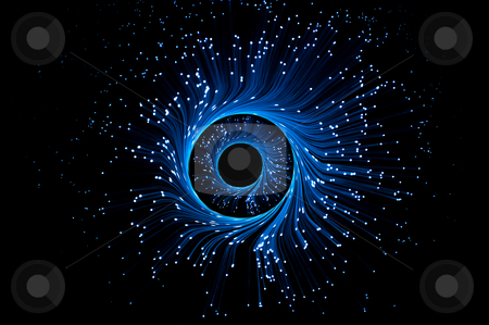 Fiber optic illusion stock photo, Illuminated blue fibre optic light strands forming swirling rings against a black background. by Samantha Craddock