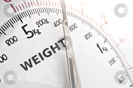 Scales stock photo, Close up on white kitchen scales incorporating the word 'weight' by Samantha Craddock