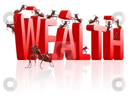Bilding wealth  stock photo, building wealth ants construct word by Dirk Ercken