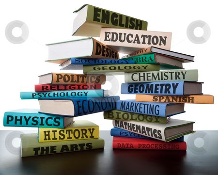 Stack of textbooks stock photo, school books on a stack educational textbooks wih text education leads to knowledge by Dirk Ercken