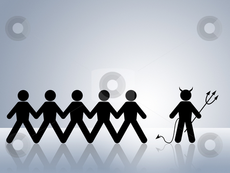Devil controls group stock photo, devil or demon leading group to Hell and temptation by Dirk Ercken