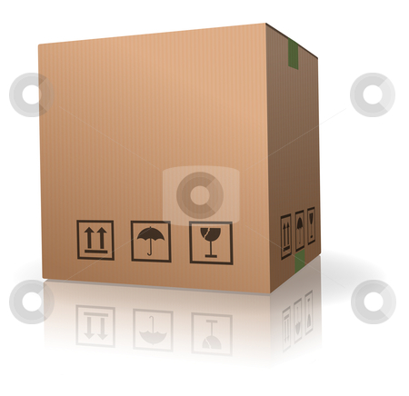 Cardboard box stock photo, cardboard box carton container with reflection isolated on white by Dirk Ercken