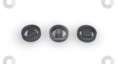 Player buttons stock photo, player buttons on white background - 3d illustration by J?