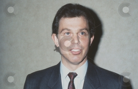 Tony Blair stock photo, Tony Blair, former British Prime Minister and Labour party Leader, attends a press conference in London on May 24, 1990. by newsfocus1