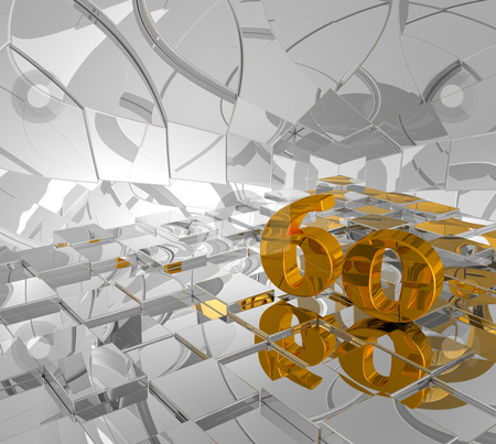 Golden number sixty stock photo, cubes background and golden number sixty - 3d illustration by J?