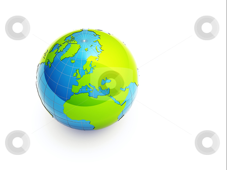 3d green earth stock photo, 3d glossy earth on white background by Christophe Rolland