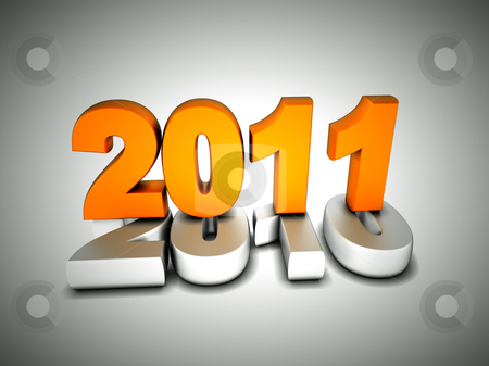 3d new year 2011 stock photo, 3d new year 2011 shape on white background by Christophe Rolland