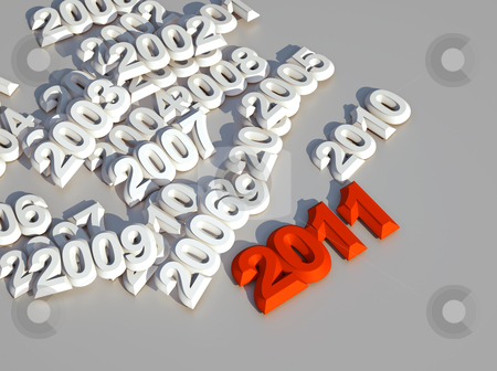3d new year 2011 stock photo, 3d new year 2011 red shape by Christophe Rolland