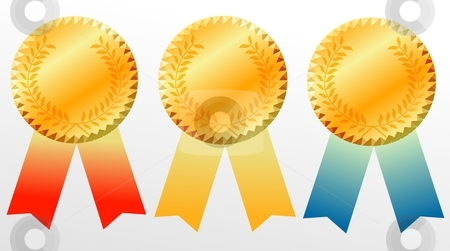 Gold medal stock photo, gold medal icon illustration over white background by Stelian Ion