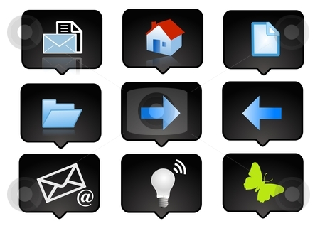 Computer icons set 3 stock photo, computer icons set  over the black background - digitaly generated by Stelian Ion