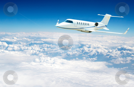 Airplane flying stock photo, airplane fliying on the beautiful blue sky background by Stelian Ion
