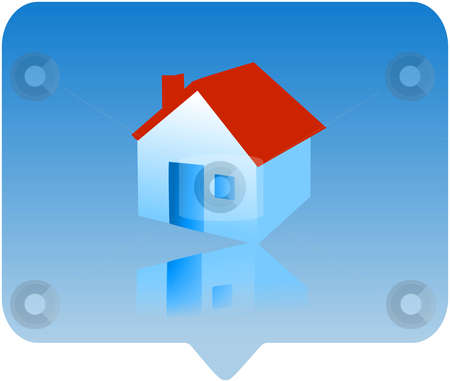 House icon stock photo, 3d house icon - computer generated clipart by Stelian Ion