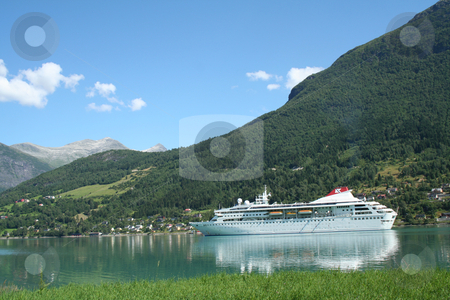 Cruise ship stock photo, cruise ship - in the northern fjord region  by Stelian Ion