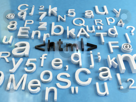 Html code stock photo, 3d render of some letters and word html by Sabino Parente