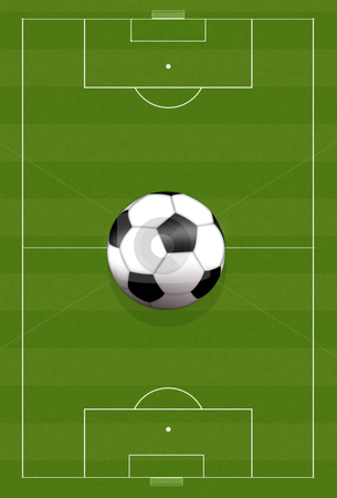Football stock photo, Background illustration of a green football field with a soccer ball by Sabino Parente