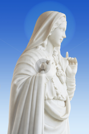 Virgin Mary stock photo, beatiful white statue of Virgin Mary on blue background by Stelian Ion