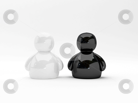 Black and white stock photo, rendering illustration of tho chess black and white by Sabino Parente