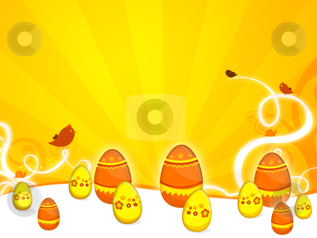 Easter stock photo, a background illustration for easter time with eggs and birds by Sabino Parente