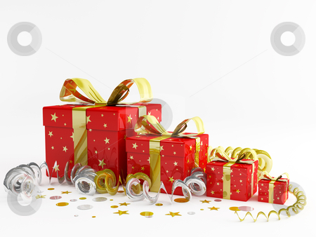 Christmas gift stock photo, 3d render illustration of decorations and christmas gifts by Sabino Parente