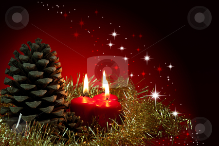 Christmas arangement stock photo, Christmas decoration.Three red burning candles and pinecone  by borojoint