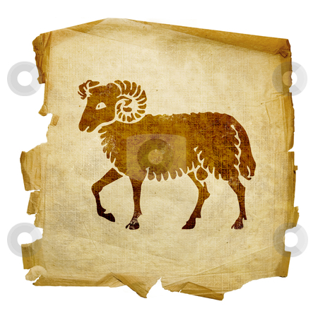 Aries zodiac old, isolated on white background. stock photo, Aries zodiac old, isolated on white background. by Andrey Zyk
