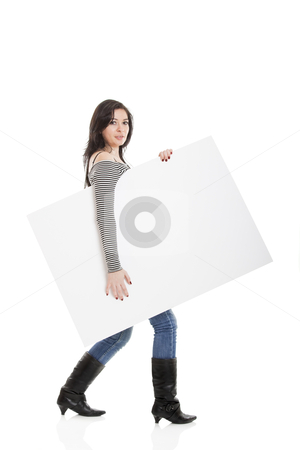 Advertising stock photo, Beautiful young women holding a blank note-card. by ikostudio