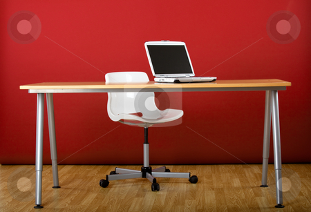 Workplace stock photo, Workplace empty of peole with a laptop over the desk by ikostudio