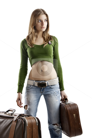 Travel woman stock photo, Beautiful young woman holding two old leather suitcases by ikostudio