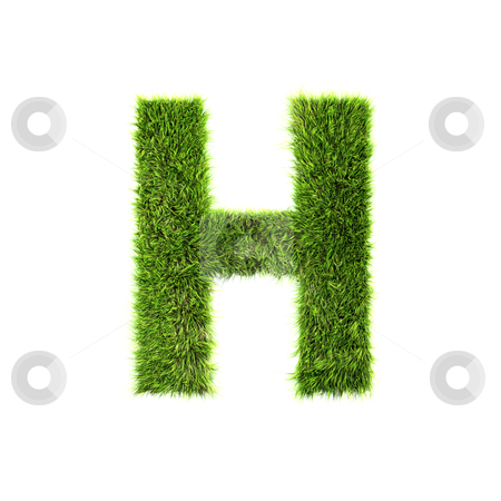 3d grass letter isolated on white background - H stock photo, 3d grass letter isolated on white background - H by Christophe Rolland